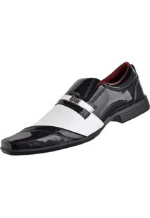 Sapato Social Cr Shoes Fashion Fino Preto/Branco