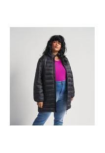 Jaqueta Longa Em Poliamida Com Gomos Curve & Plus Size | Ashua Curve E Plus Size | Preto | Gg