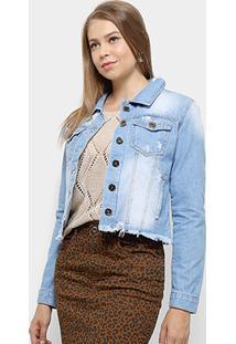 Jaqueta Jeans Razon Puídos Feminina - Feminino-Azul