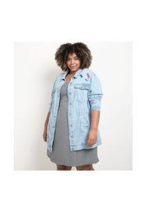 Jaqueta Alongada Jeans Com Silk E Bordados Curve & Plus Size