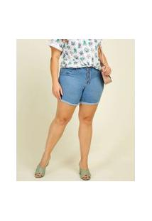 Bermuda Plus Size Feminina Jeans Botões