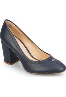 Sapato Tradicional Com Microfuros - Azul Marinho- Sacapodarte