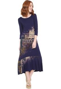 Vestido Desigual Midi Soul Azul-Marinho