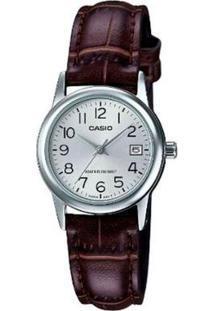 Relógio Casio Ltp-V002L-7B2Udf Feminino - Feminino-Prata+Marrom