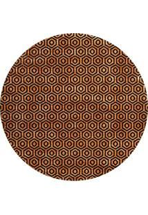 Tapete Marbella Grauves Redondo (150X150Cm) Caramelo E Preto