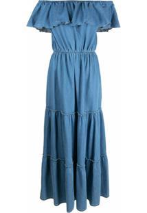 Federica Tosi Vestido Lonog Com Detalhe De Babados - Azul