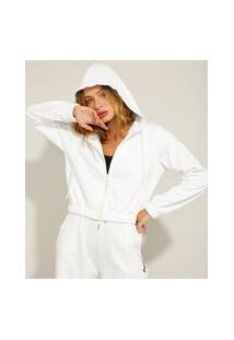Jaqueta Cropped De Moletom Com Capuz Pantone Off White