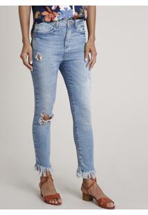 Calça Jeans Feminina Skinny Cintura Alta Com Rasgos Azul Médio