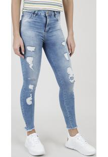 Calça Jeans Feminina Sawary Skinny Heart Cintura Média Destroyed Azul Claro
