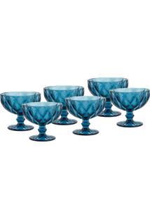 Conjunto 6 Taças Lyor Diamond Coupe Champagne Vidro 310Ml Azul