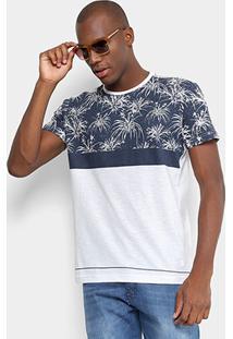 Camiseta Gangster Recorte Estampada Floral Manga Curta Masculina - Masculino-Branco