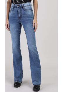 Calça Jeans Sawary Flare Cintura Média Azul Médio