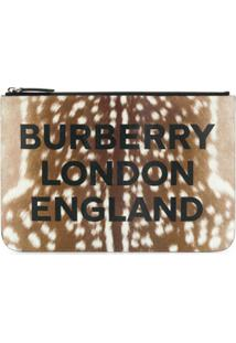 Burberry Clutch Animal Print Com Zíper - Marrom