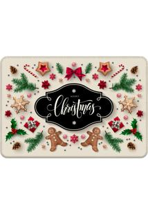Tapete Sala Love Decor Merry Christmas Bege Off-White - Off-White - Dafiti
