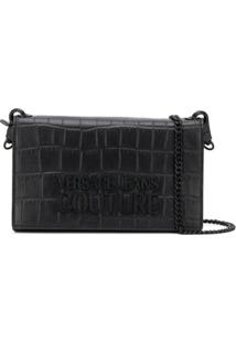 Versace Jeans Couture Embossed Croc-Effect Cross Body Bag - Preto
