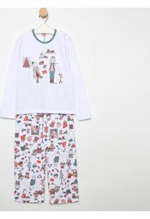 Pijama Manga Longa & Calã§A- Branco & Verdesonhart