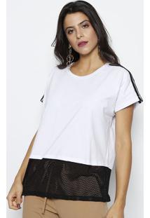 ... Camiseta Com Recorte Em Micro Furos- Branca   Preta-Rovitex 5add32e7e8