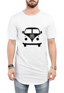 Camiseta Criativa Urbana Long Line Oversized Kombi Carro Antigo - Masculino