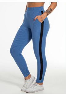 Calça Feminina Em Tecido Canelado Azul