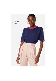 Amaro Feminino Blusa Com Faixa Listrada Na Barra, Azul Marinho