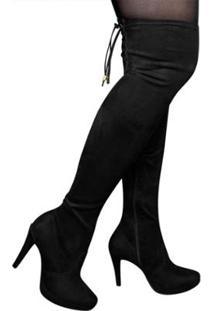 Bota Over The Knee Via Marte Feminina - Feminino-Preto