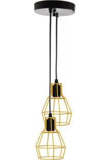 Lustre Com 2 Pendentes Aramado Nu - Trybo Design - Amarelo