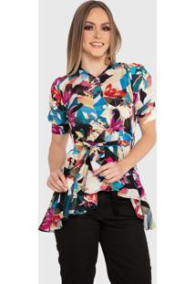 Blusa Casual Carbella Rose Manga Bufante Estampada Floral Com Cinto Estampado Colorida