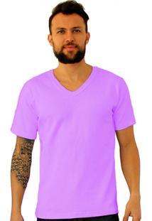 Camiseta Versatti Fram Gola V Lilás