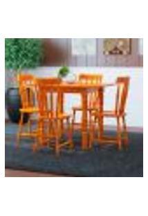 Conjunto De Mesa Dobrável Com 4 Cadeiras Andreia Mel