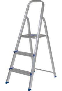 Escada Alumínio 3 Degraus Mor Prata
