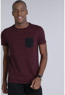 Camiseta Masculina Slim Fit Listrada Com Bolso Manga Curta Gola Careca Vinho