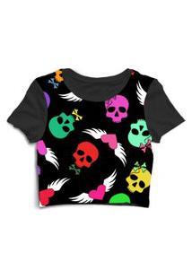 Blusa Blusinha Cropped Tshirt Camiseta Feminina Caveira Coraçáo Preto