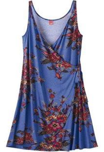 Vestido Viscose Stretch Decote V Floral Wee! Plus Size - Feminino-Azul