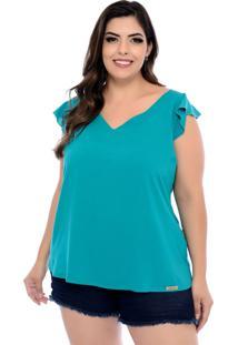 Blusa Forma Rara Plus Size Babado Ombro Verde Esmeralda-58