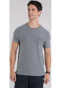 Camiseta Listrada Com Bolso Cinza Mescla Escuro