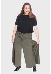 Calça Pantalona Bold Envelope Plus Size 52/54 Feminina - Feminino-Verde