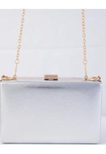 Bolsa Clutch Retangular Prata E Dourado
