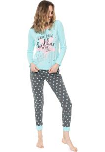 Pijama Malwee Liberta Lettering Azul/Cinza