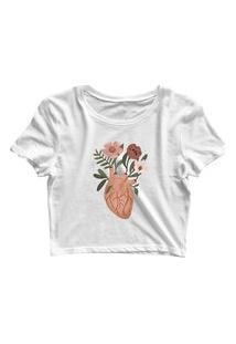 Blusa Blusinha Feminina Cropped Tshirt Camiseta Coração Flores Branco