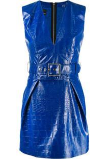 Pinko Vestido Com Cinto - Azul