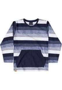 Camiseta Manga Longa Meia Malha Bebê Quimby - Masculino-Azul
