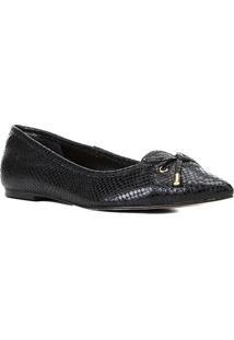 Sapatilha Couro Shoestock Bico Fino Cobra Laçofeminina
