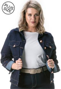 Jaqueta Jeans Plus Size - Confidencial Extra Tradicional Com Elastano Azul-Marinho