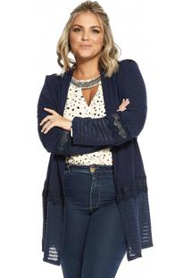 Cardigan Molecotton Feminino Secret Glam Azul