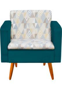 Poltrona Decorativa Emília Linho A17 Com Suede Azul Pavão - D'Rossi