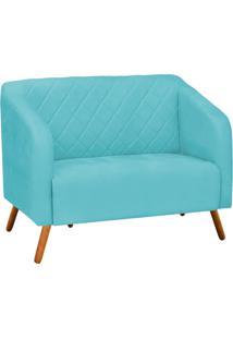 Sofá Retrô Namoradeira Silmara Suede Azul Tiffany - D'Rossi