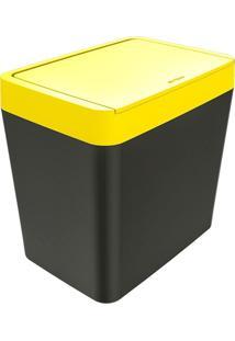 Lixeira Para Pia 5 Litros Tornado - Chumbo/Amarelo - Multistock