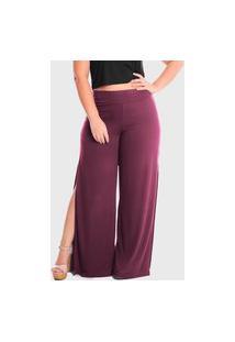 Calça Pantalona Laterais Abertas Cintura Alta Plus Size Lynnce Marsala