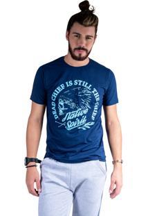 Camiseta Mister Fish Estampado Native Spirit Marinho