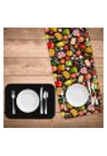 Jogo Americano Com Caminho De Mesa Premium Pizza Kit Com 4 Pçs + 1 Trilho